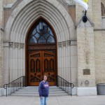 Gail in front of Sacred Heart Basilica at ND